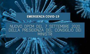 DPCM del 07 Settembre 2020 della Presidenza del Consiglio dei Ministri