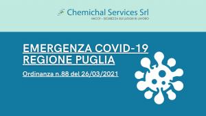 SCHEDA SINTETICA ORDINANZA REGIONE PUGLIA N. 88 DEL 26-03-2021